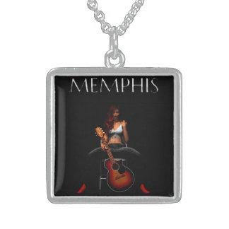 MEMPHIS :: Black Velvet Square Pendant Necklace
