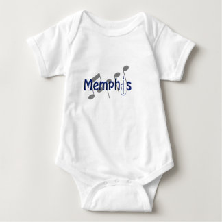 memphis blue with music notes baby bodysuit