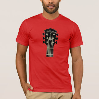 Memphis Guitar Black Grey on Red T-Shirt