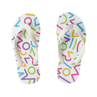 Memphis Retro Colorful Abstract Style Kid's Thongs