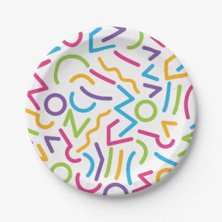 Memphis Retro Colorful Abstract Style Paper Plate