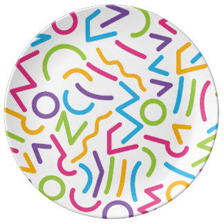 Memphis Retro Colorful Abstract Style Plate