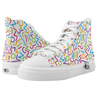 Memphis Retro Colorful Abstract Style Printed Shoes