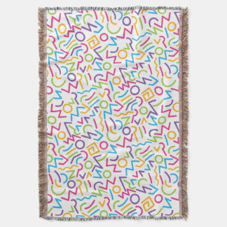 Memphis Retro Colorful Abstract Style Throw Blanket
