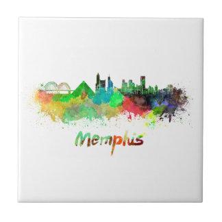 Memphis skyline in watercolor ceramic tile