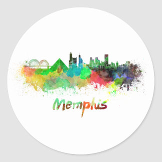 Memphis skyline in watercolor classic round sticker