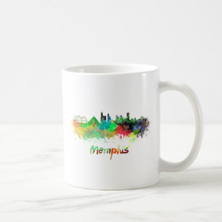 Memphis skyline in watercolor taza de café