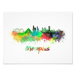 Memphis skyline in watercolor photo print
