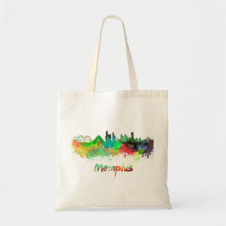 Memphis skyline in watercolor tote bag