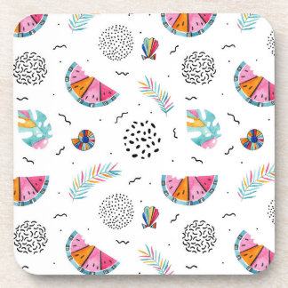 Memphis Style Tropical Summer Pattern Coaster