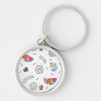 Memphis Style Tropical Summer Pattern Key Ring