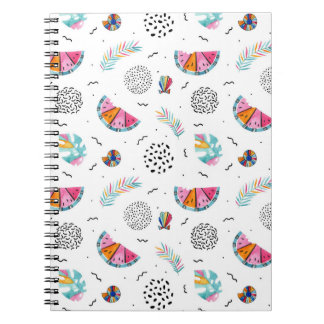 Memphis Style Tropical Summer Pattern Notebooks