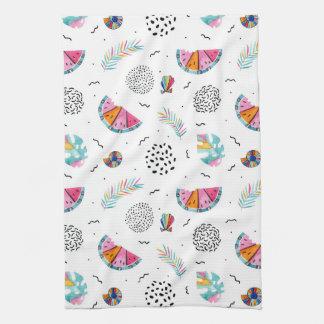Memphis Style Tropical Summer Pattern Tea Towel