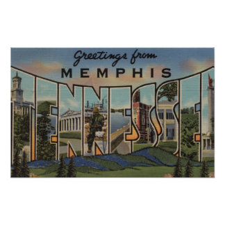 Memphis, Tennessee - Large Letter Scenes Poster