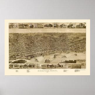 Memphis, TN Panoramic Map - 1887 Poster