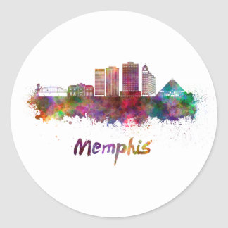 Memphis V2 skyline in watercolor Classic Round Sticker