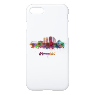 Memphis V2 skyline in watercolor iPhone 8/7 Case