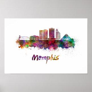 Memphis V2 skyline in watercolor Poster