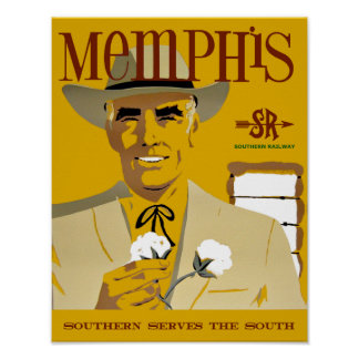 Memphis.  Vintage Style Travel Poster