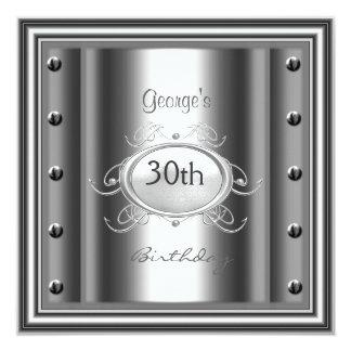 Men 30th Chrome Birthday Party Chrome Card