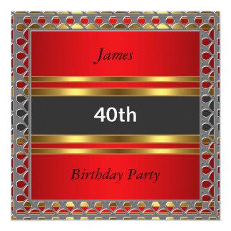 """Men 40th Birthday Party Red Invitation 5.25"""" Square Invitation Card"""