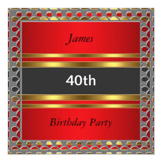 Men 40th Birthday Party Red Invitation