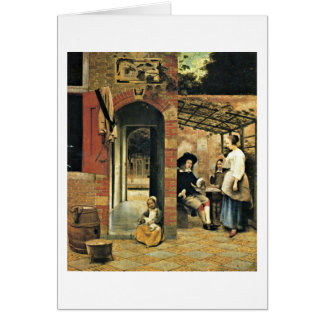 Men And A Woman In Courtyard By Pieter De Hooch Card