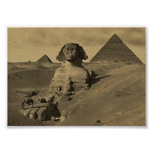 Men and Camels on the Paw of the Sphinx, Pyramids Print