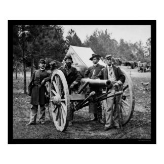 Men and Cannon at Fair Oaks, VA Encampment 1862 Poster