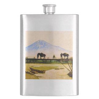 Men and Horses on Bridge Beneath Mt. Fuji Vintage Hip Flask