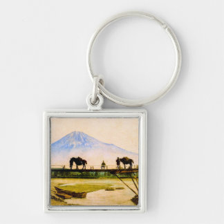 Men and Horses on Bridge Beneath Mt. Fuji Vintage Silver-Colored Square Key Ring