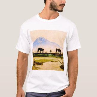 Men and Horses on Bridge Beneath Mt. Fuji Vintage T-Shirt