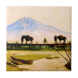 Men and Horses on Bridge Beneath Mt. Fuji Vintage Tile