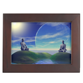 men and moon yellow and sky keepsake box