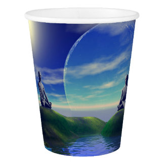 men and moon yellow and sky paper cup