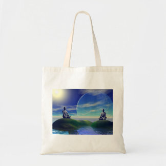 men and moon yellow and sky tote bag