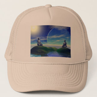 men and moon yellow and sky trucker hat