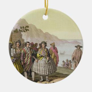 Men and women in elaborate costume Chile from L Christmas Tree Ornaments