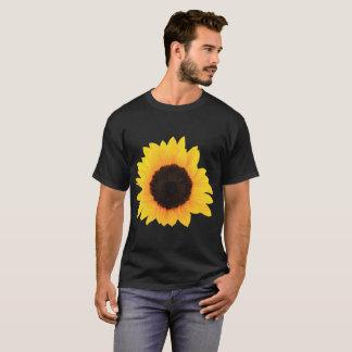 Men Black T-Shirt Decor Sunflowers Single Bloom