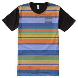 Men Blues Orange Yellow Colours Striped T-Shirt