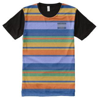 Men Blues Orange Yellow Colours Striped T-Shirt All-Over Print T-Shirt