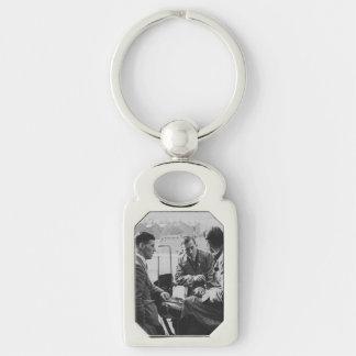 Men Chatting Image Metal Rectangle Keychain Key Rings