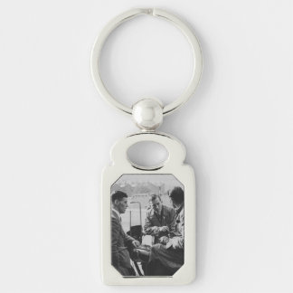Men Chatting Image Metal Rectangle Keychain Silver-Colored Rectangle Key Ring