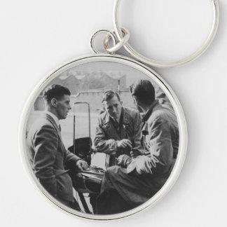 Men Chatting Image Premium Large Circle Keychain