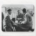 Men Chatting Old Black & White Image Mousepad Mat