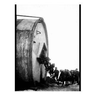 Men entering a novel billet with_War image Postcard