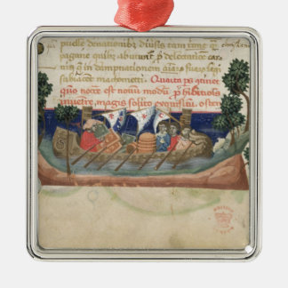 Men in a boat taking supplies to the Holy Land Silver-Colored Square Decoration