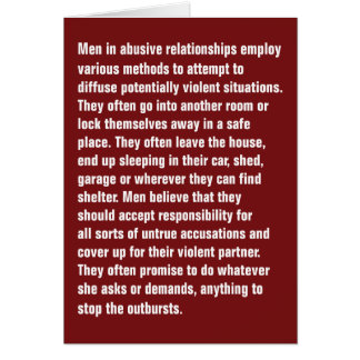 Men In Abusive Relationships Employ Various … Greeting Card