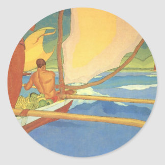 Men in an Outrigger Canoe Headed for Shore Classic Round Sticker