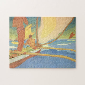 'Men in an Outrigger Canoe Headed for Shore' Jigsaw Puzzle
